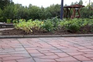 Betoninen reunakivi tukee laatoitusta ja reunustaa samalla kasviryhmää.