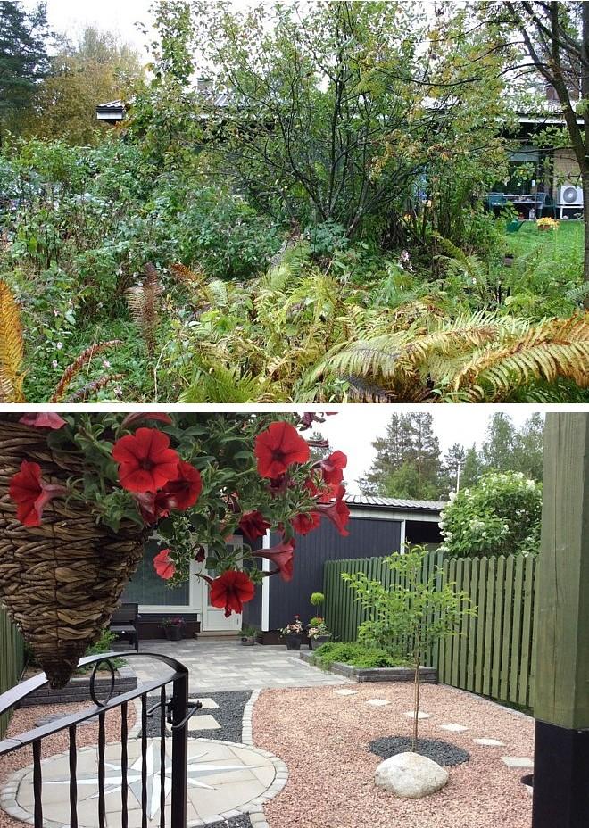 Nurmikon puuttuessa kivipihan vihreydestä  huolehtivat muuri-istutukset, kirsikkapuu ja värikkäät kesäkukat.
