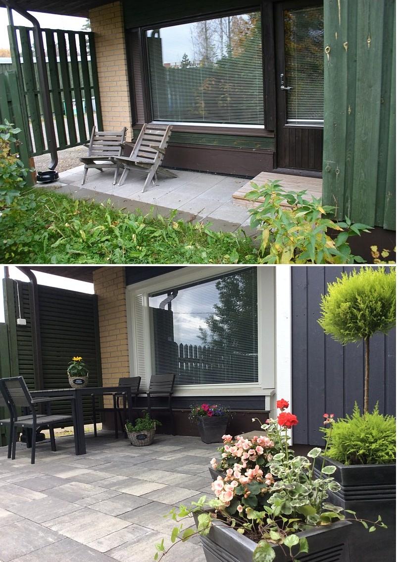 Entinen pieni oleskelualue on saanut runsaasti lisää neliöitä ja pystylaudoituksella oleva suojasermi tehtiin uusiksi vaakarimoituksella.  Piharemontiaikana vaihdettiin myös asuntokohtaiset ikkunat ja varastokoppi sai uuden värisävyn taloyhtiön toimesta.