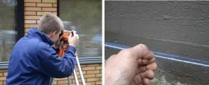 Perinteinen vaaituskoje on hyvä apuväline pihamaan korkojen määrittämisessä. Seinän vierellä pinnan korko merkattiin sokkeliin.