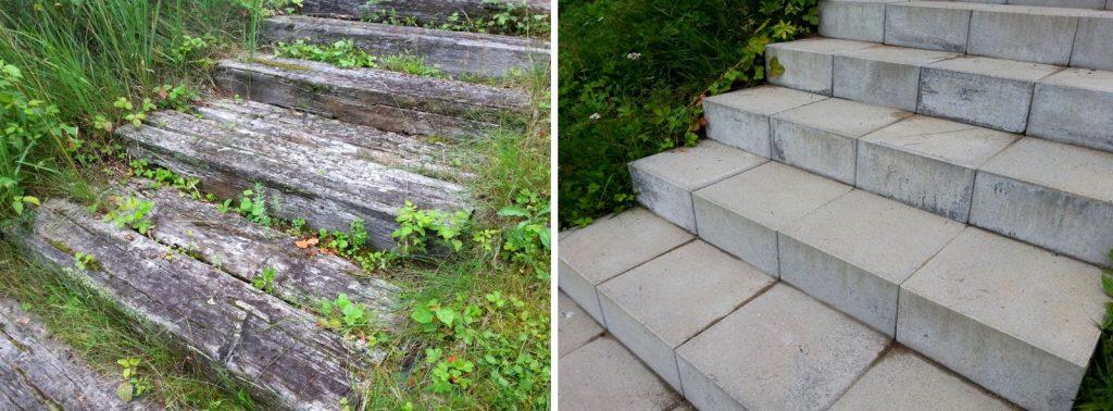 Vanhat huonokuntoiset portaat ovat turvallisuusriski. Kätevä tapa kunnostaa maastoportaat turvallisiksi kulkea on vaihtaa aikansa eläneet ratapölkkyaskelmat rappujen tekoon tarkoitettuihin betonisiin porraskiviin, joiden nousu ja etenemä on valmiiksi mitoitettu